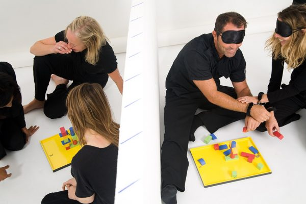 Blindfolded delegates helping one another to complete constructions