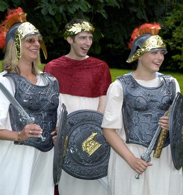 Delegates dressed as gladiators for Fifteen Famous Minutes team building event