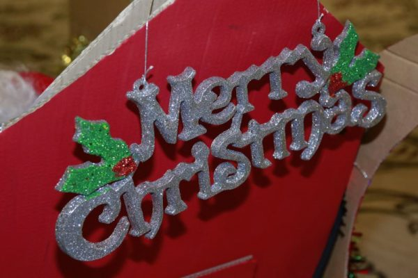 Merry Christmas sign on side of sleigh