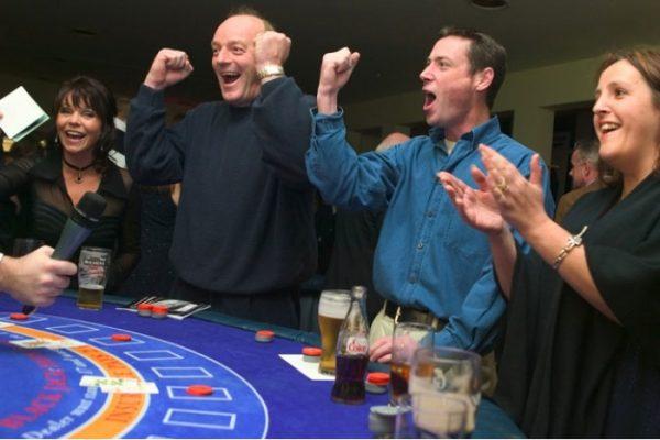Delegates cheering during Casino Night
