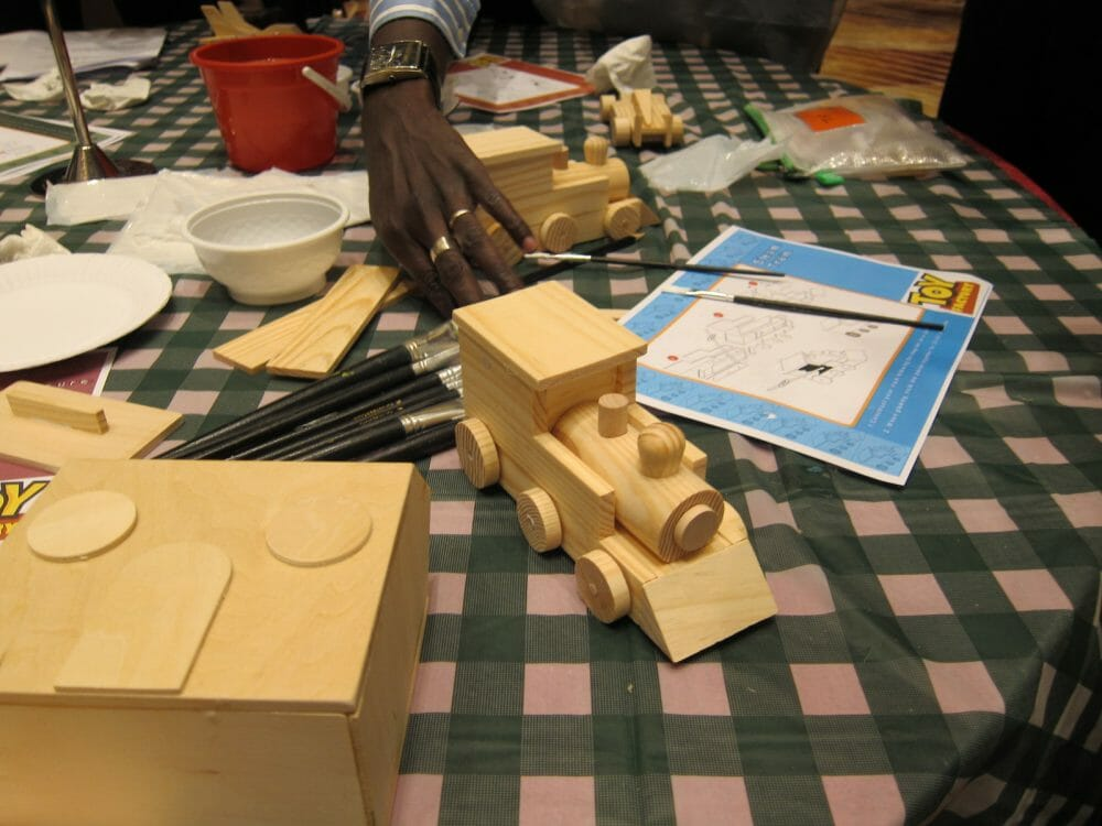 A Wooden toy train made during Toy Factory, a staff bonding activity hosted by Orangeworks.