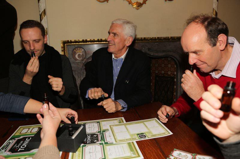 Delegates smelling a gin sample