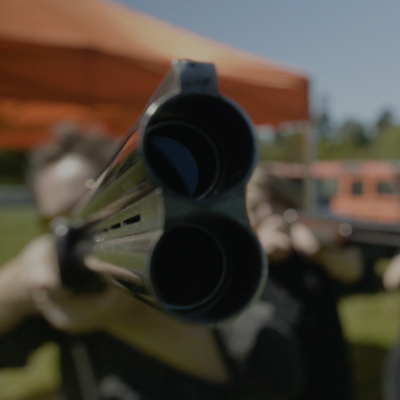 Up close shot of gun during Real Clay Pigeon Shooting event