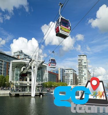 Emirates Cable cars in London crossing the River Thames during Go Team treasure hunt