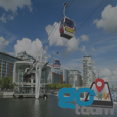 Emirates cable cars making their way over River Thames in Go Team Land, Sea & Air