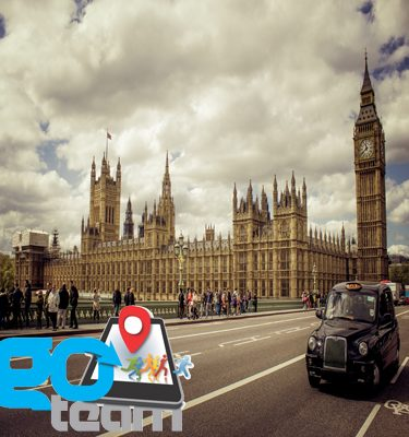 Tourist attractions including Big Ben that participants will see during Orangeworks taxi based treasure hunt in london.
