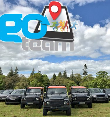 4x4 vehicles lined up ready for our Go Team Discovery Challenge