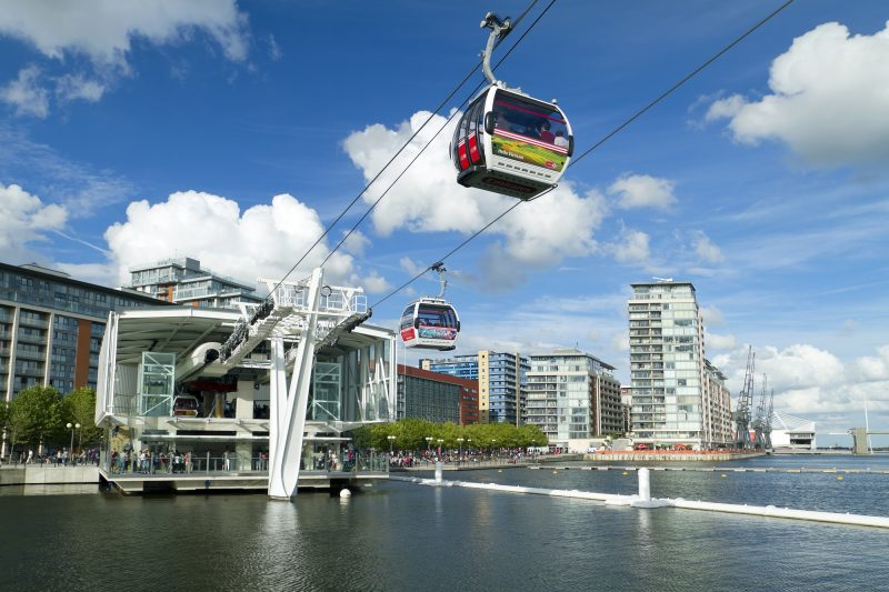 Emirates cable cars crossing the River Thames during a treasure hunt