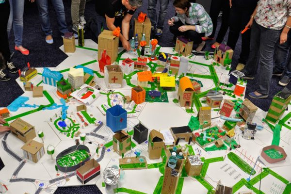 A city built by everyday materials, as part of one of Orangeworks team building activities.