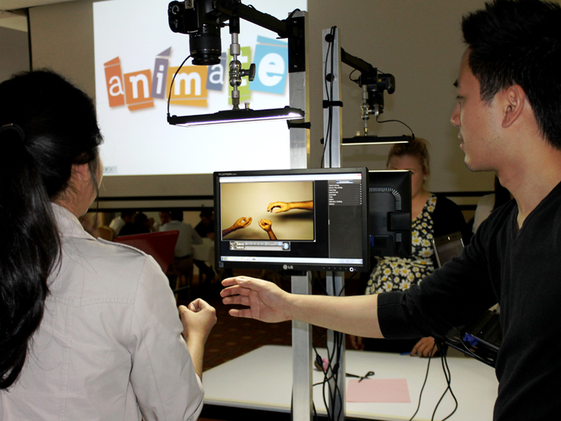 The stop motion animation camera and screens set up, ready to go, for the team building event, Animate, hosted by Orangeworks