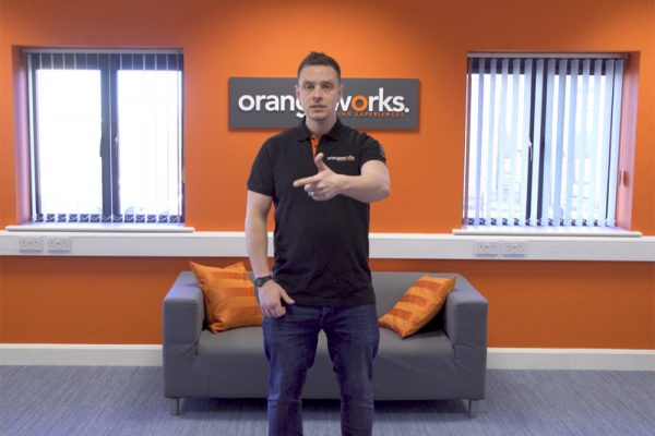 Our Beatbox Rox, instructor, Dean practising his beatboxing, for an icebreaker event, in the Orangeworks main office.
