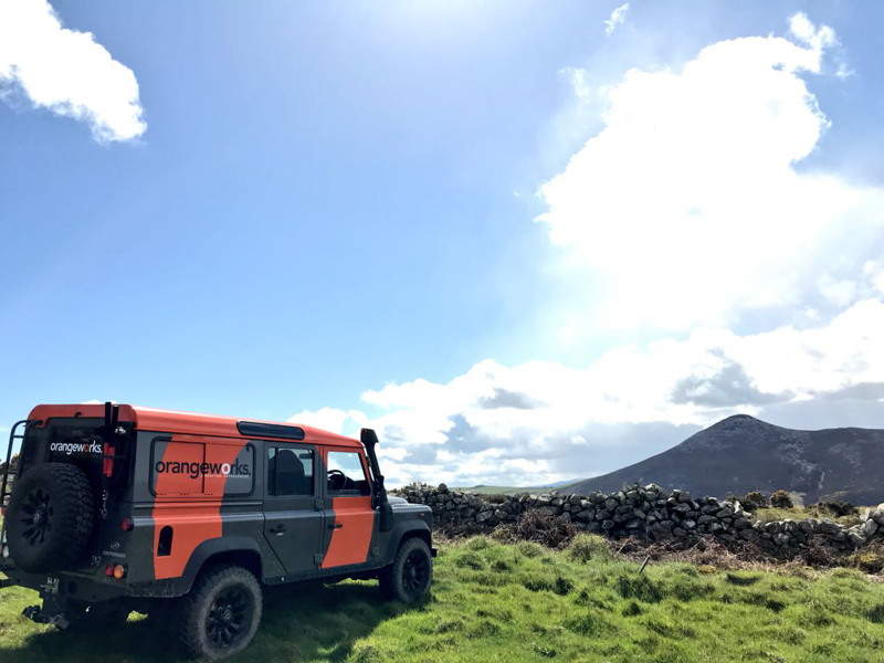 Orangeworks Landrover Defender parked at a bespoke location ready for an event