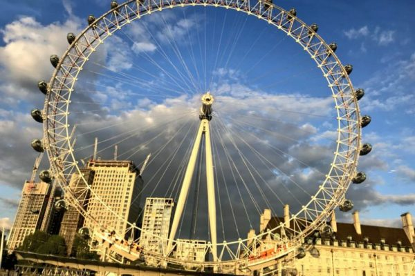 London Eye on a blue sky sunny day