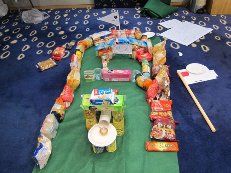 The equipment laid out on the floor for the CSR team building exercise by Orangeworks Hole in One .