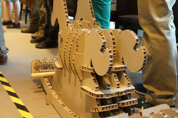 Cardboard rocking horse built by delegates during Horses for Causes, a charity themed team building activity for work.