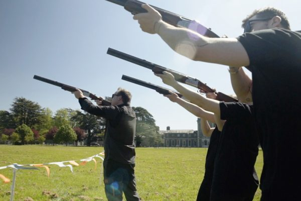 Picture of delegates shooting during Real Clay Pigeon Shooting event