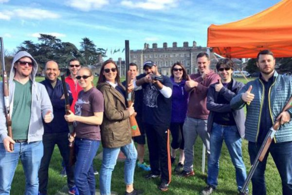 Group photo with Orangeworks Laser Clay Pigeon Shooting guns