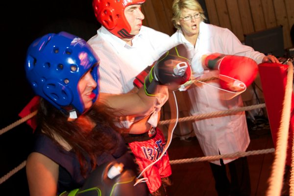 Delegates competing in a Push It boxing challenge