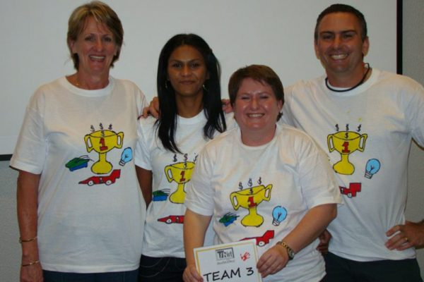 People who designed their own tshirts, during an orangeworks creative team building challenge