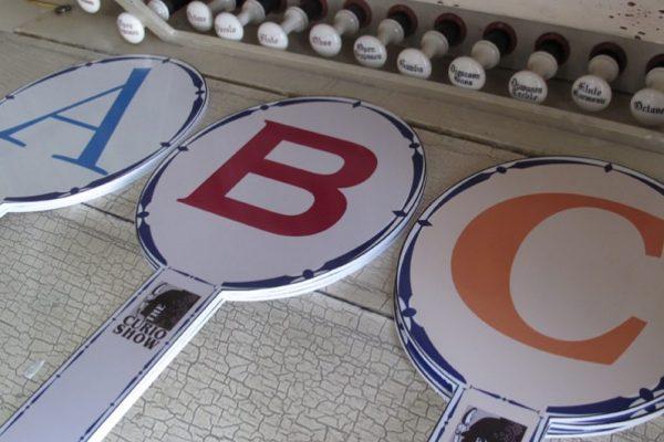 Curio Show A,B,C signs