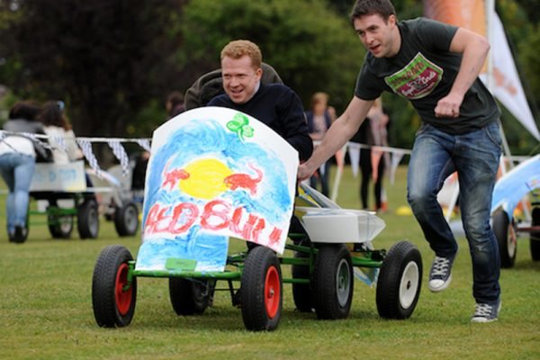 Delegates in the middle of Thunder Races running with their kart