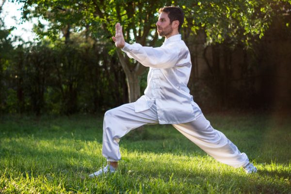 Delegate doing Tai Chi outdoors on the grass