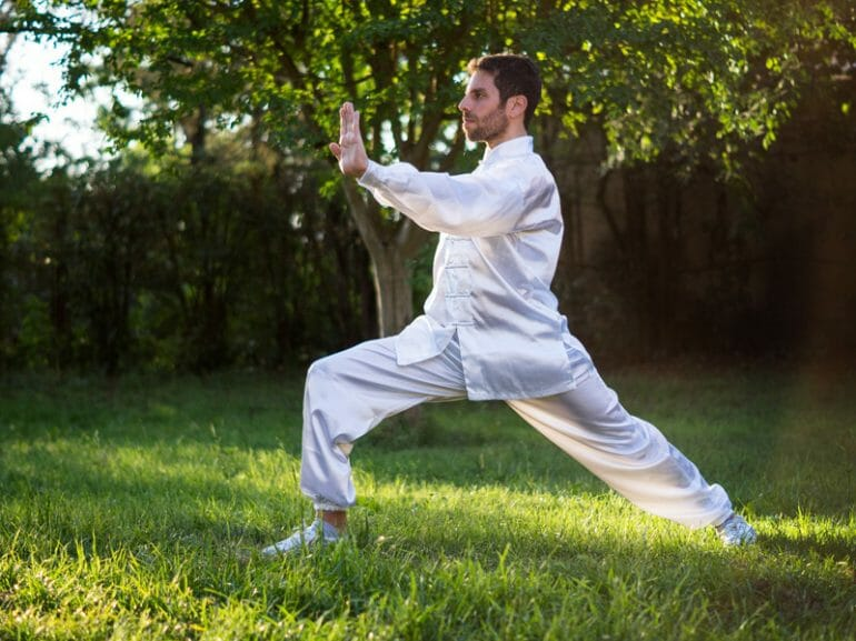 A Tai Chi master practising the 'push or an', one of the positions learned during the Orangeworks workplace wellness activity