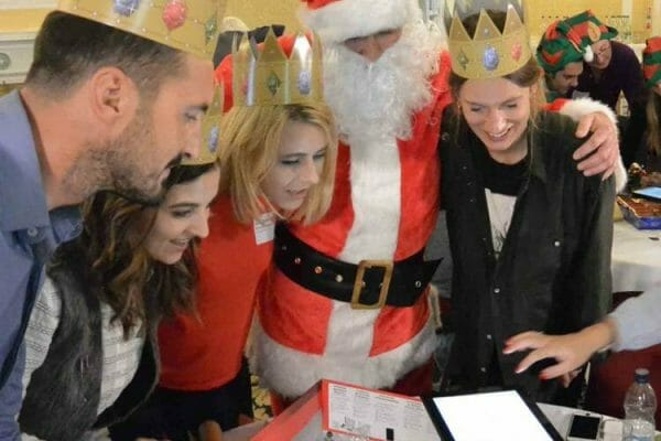 Santa and delegates working together on some Quickfire challenges