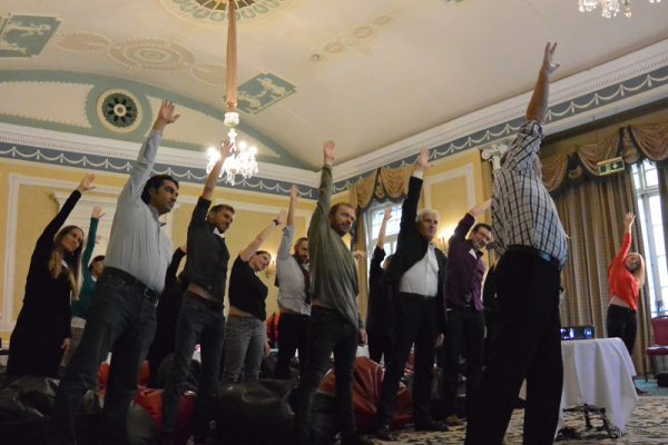 Delegates re-energising during Meditainment wellness programme with Orangeworks