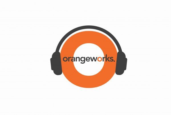 the orangeworks insights logo, with the orangeworks o and headphones around it