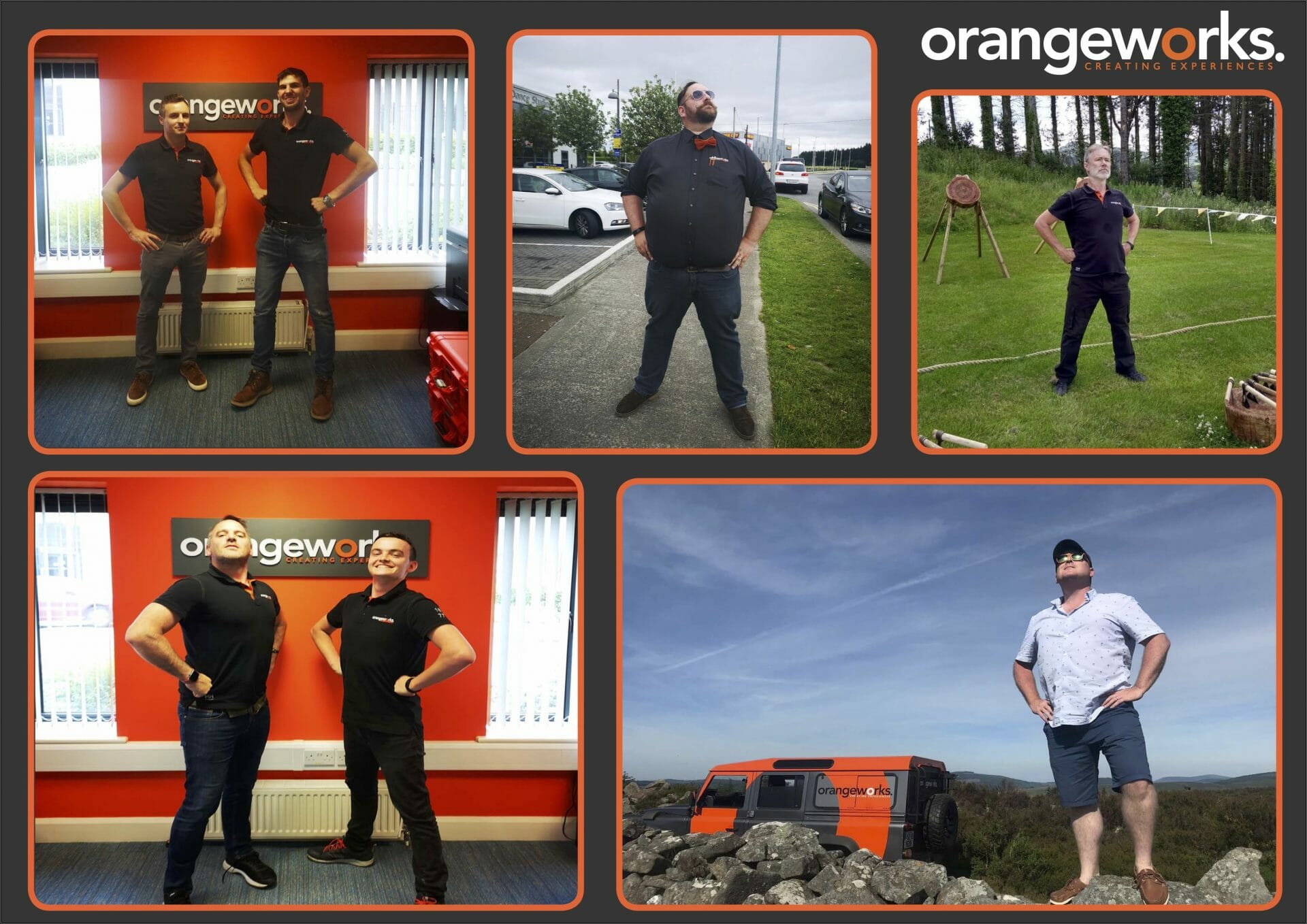 The team at orangeworks practicing their power posing, also known as the superman stance.