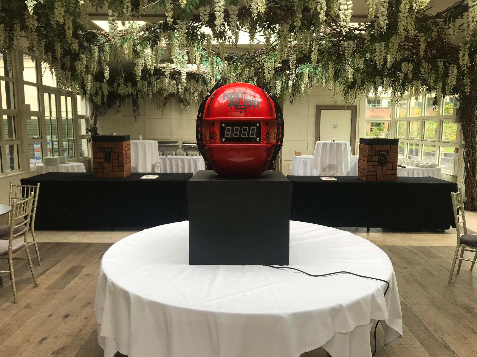 The Red Alert Sphere sitting on a table, ready to be played by a team as part of their team bonding away day.