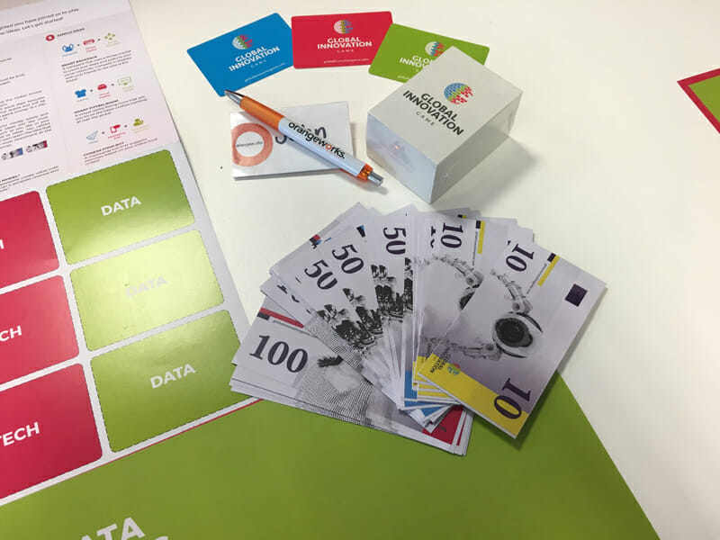 Game Cards for Orangeworks online team building activity called Digital Global Innovation Game.