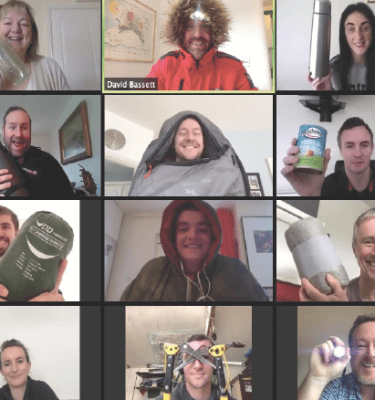 A work from home team playing Peak Performance, one of Orangeworks fun virtual team building activities.