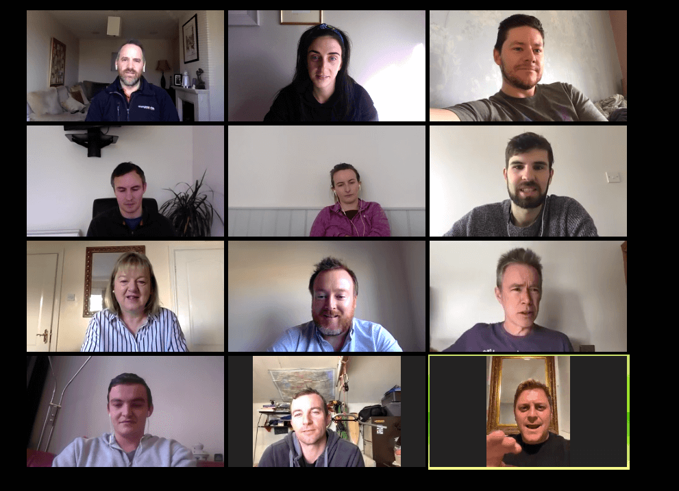 A remote working team playing The Elimination Game, one of Orangeworks virtual team bonding activities.
