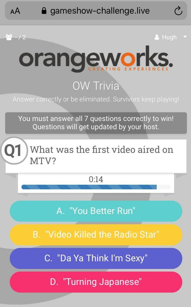 Orangeworks remote team building game show