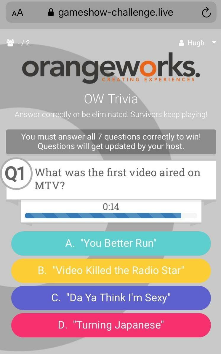Orangeworks remote team building game show