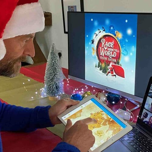 Delegate playing Race Around The World, one of Orangeworks virtual christmas team building activities.