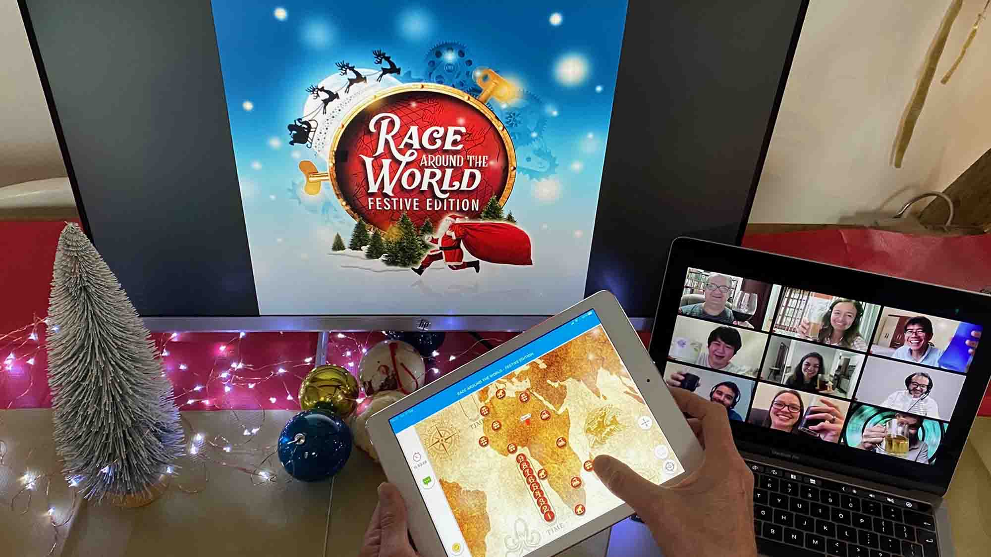 Delegate playing Race Around The World, one of Orangeworks christmas team bonding games.