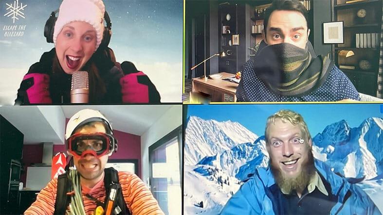 Participants having fun during Escape the Blizzard team building experience